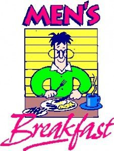 """Drawing of a man eating breakfast and the words """"Men's Breakfast"""""""
