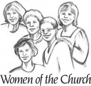 "Drawing of 5 women standing together and the words ""Women of the Church"" across the bottom"