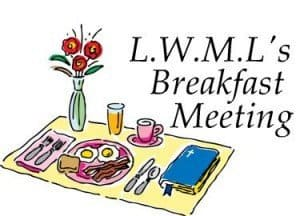 "A colored drawing of an breakfast place setting has a bouquet of flowers and a bible beside it and ""LWML Breakfast Meeting"" above"