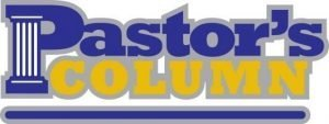 """The words, """"Pastor's Column"""" with thick letters and a column forming the straight part ot the """"P."""""""