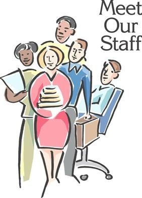 "Drawing of five people together and the words ""Meet our Staff"""