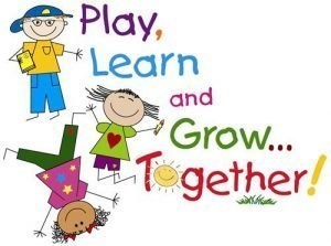 "Drawing of 3 children playing with the words ""Play Learn and Grow Together!"""