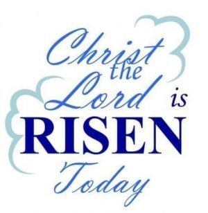 "Words against a background of white clouds: ""Christ the Lord is Risen today."""