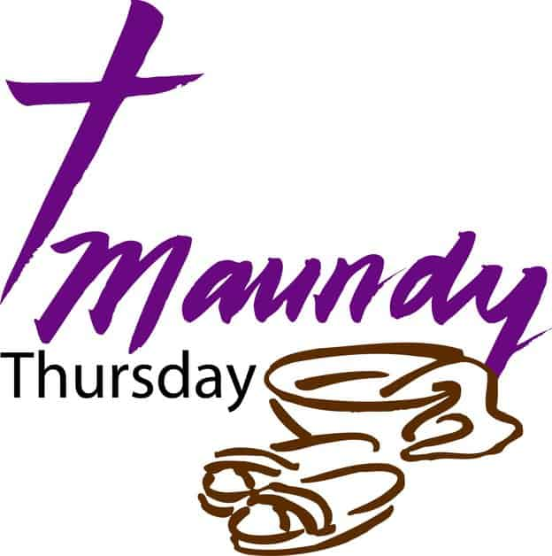 "Line drawing of a pair of sandals, a bowl of water and a towel and the words ""Maundy Thursday"""