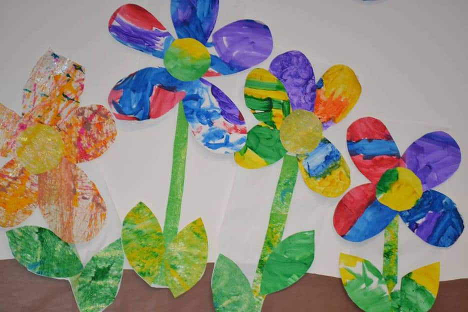 Flowers Made Of Paper And Paint Decorating The Fellowship Hall