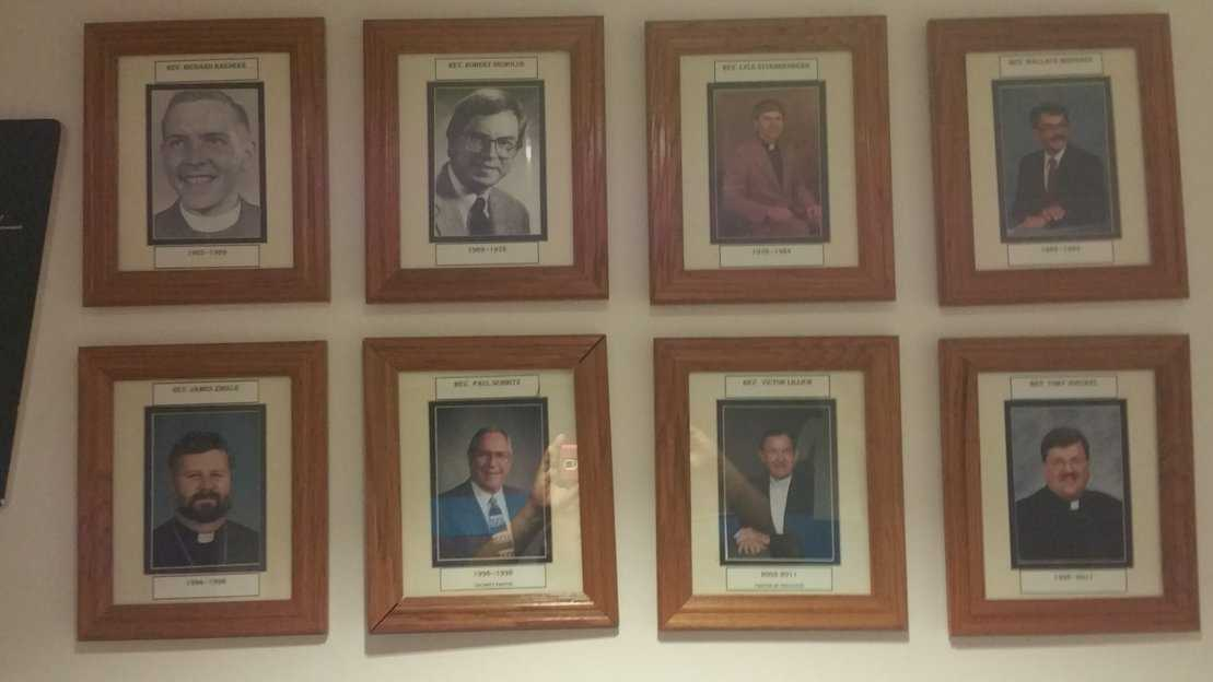 Group of 8 framed photos of Mt Olive's previous pastors
