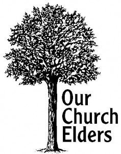"Black and white drawing of a tree with the words ""Our Church Elders"""