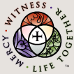 "Three concentric circles with a cross in the center and the words ""WITNESS . LIFE TOGETHER . MERCY"" around the image"