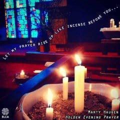 "Candles burning in a church with the words ""Let my prayer rise up like incense"" floating up in the photo"
