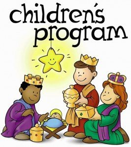 "Children as three wise men with a baby in a manger and a star above with the words ""Childrens Program"""