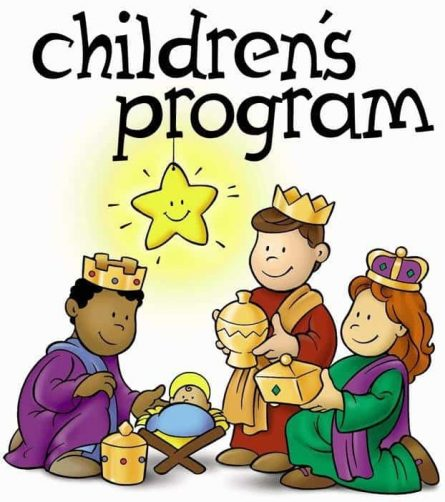 """Children as three wise men with a baby in a manger and a star above with the words """"Childrens Program"""""""