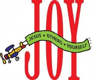 "The word ""JOY"" in tall red letters with an airplane towing a banner in front with the words ""Jesus . Others . Yourself"""