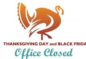 """Silhouette of a turkey in brown and the words """"Thanksgiving Day and Black Friday Office Closed."""""""