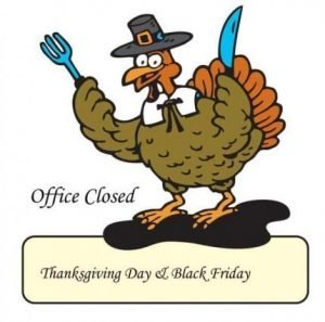 Turkey dressed as Pilgrim with a knife and fork and the words Office Closed Thanksgiving Day and Black Friday