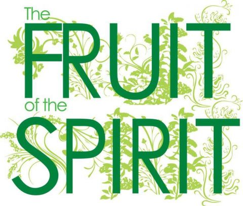 "Poster with the words ""FRUIT"" and ""SPIRIT"" large in the phrase ""The Fruit of the Spirit"""