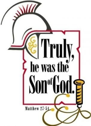 "A helmet above and a whip below the words ""Truly, He was the Son of God."""