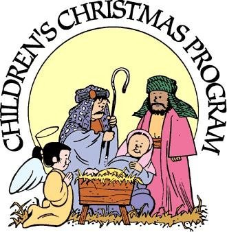 "Drawing of children as wise men in a manger scene with the words ""Children's Christmas Program"" above"