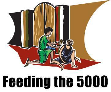 "Drawing of a person giving food to another and the words ""Feeding the 5000"""
