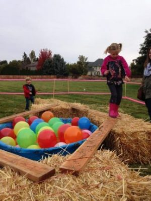 Girl with pig tails and wearing pink boots walks across a board between hay bales during Our Harvest Festival Obstacle Course.