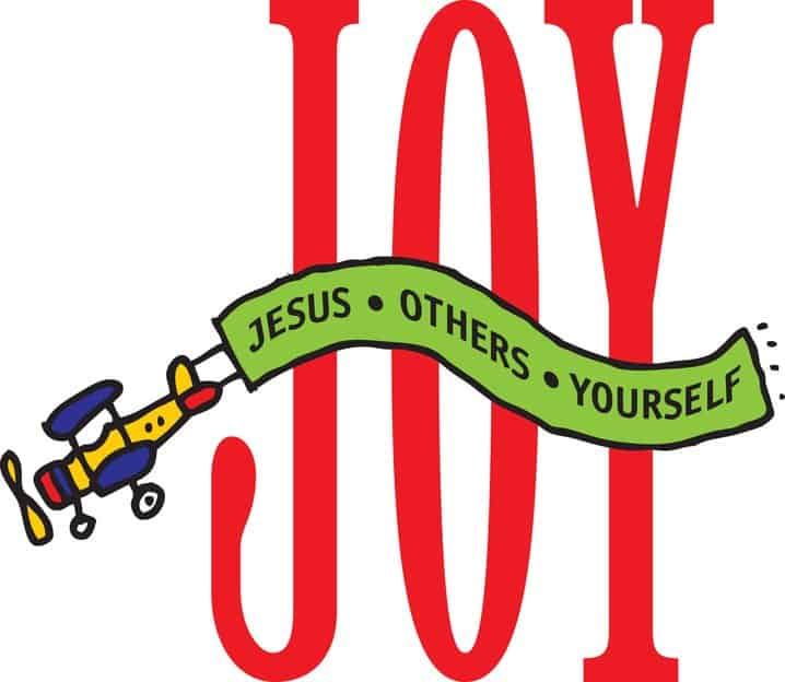 "The word ""JOY"" in tall letters and airplane towing a banner across with the words ""JESUS - OTHERS - YOURSELF"""