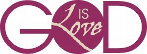 """The word """"GOD"""" in large purple letters with the words """"IS Love"""" inside the letter """"O"""" in GOD."""