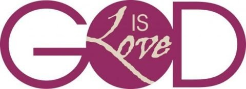 "The word ""GOD"" in large purple letters with the words ""IS Love"" inside the letter ""O"" in GOD."