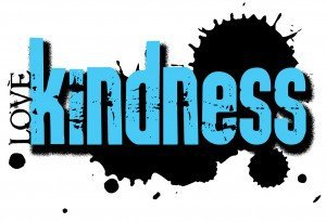 "The word ""Kindness"" in large blue letters with the words ""I love"" sideways to the left of the letter ""K"""
