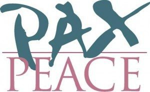 "The words ""PAX"" and ""PEACE"" slightly overlaping"