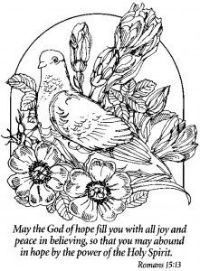 A black & white drawing of a pigeon surrounded by flowers and the text of Romans 15:13