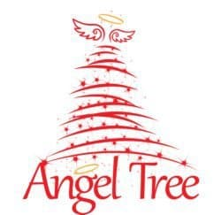 "White and red stylized tree with wings and a halo and the words ""Angel Tree"""