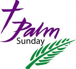"A palm branch and the words ""Palm Sunday"""