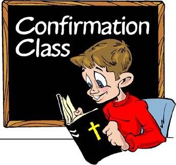 "A boy intently reading the bible with the words ""Confirmation Class"" on a blackboard behind him"
