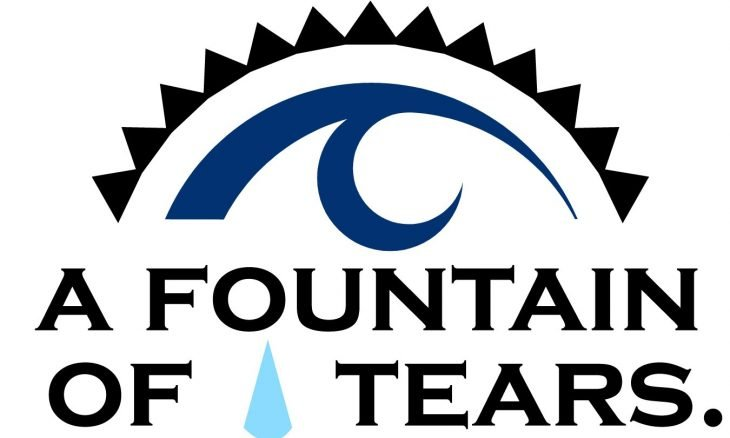 "Poster with the words, ""O that my head were a spring of water, and my eyes a fountain of tears."""