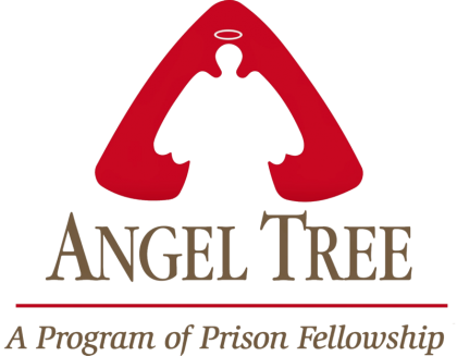 "Angel outline in white surrounded by red and the words ""Angel Tree Program of Prison Fellowship."""