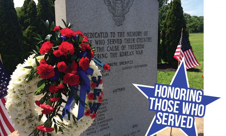 "Photo of a veteran's headstone with the words, ""Honoring those who served."""
