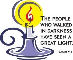 """Drawing of a candle burning with the words, """"The people who walked in darkness have seen a great light."""