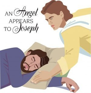"Drawing of an angel with a sleeping Joseph and the words, ""An angel appears to Joseph."""