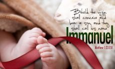 "Photo of baby feet with a red ribbon and the words, ""Behold the virgin shall conceive and bear a son, and they shall call his name Immanuel."""