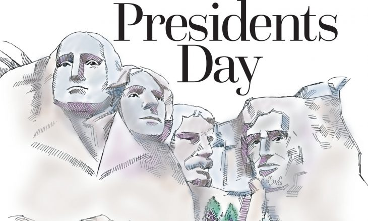 "The words, ""Presidents Day"" above Mt. Rushmore."