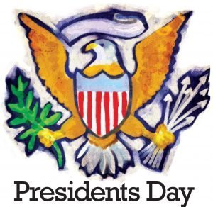 "The words, ""Presidents Day"" below an eagle on coat-of-arms with shield on his chest and grasping arrows"