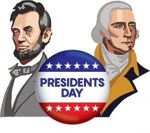 "Abraham Lincoln and George Washington on either side of a button with the words, ""Presidents Day."""
