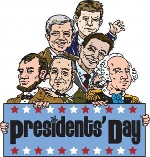 "Drawing of 6 Presidents with the words, ""Presidents' Day."""