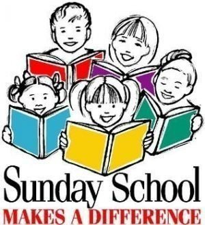 "Drawing of five children with books open looking up and smiling and the words ""Sunday School makes a difference"""