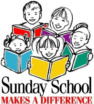 "Five children with books open looking up and smiling and the words ""Sunday School makes a difference"""
