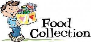 """Drawing of a boy carrying a box with the words """"Food Collection."""""""