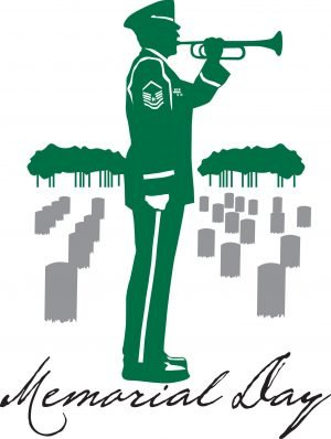 """Silhouette of a soldier playing a trumpet in a cemetery with the words, """"Memorial Day."""""""