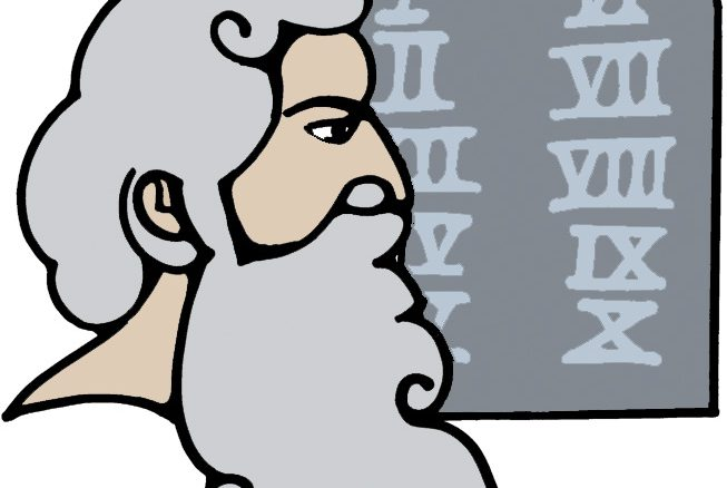 Outline drawing of Man with flowing beard and the ten commandmants behind him