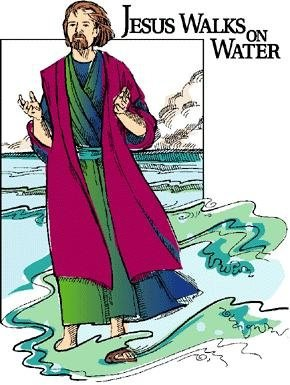 """""""Jesus walks on water"""" and a man in long robes on the waves"""