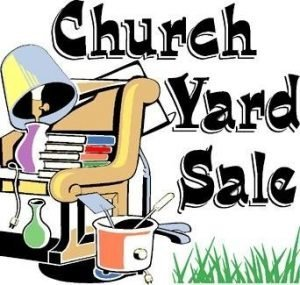 """Poster with furniture, books, kitchen utensils etc and the words """"Church Yard Sale"""""""