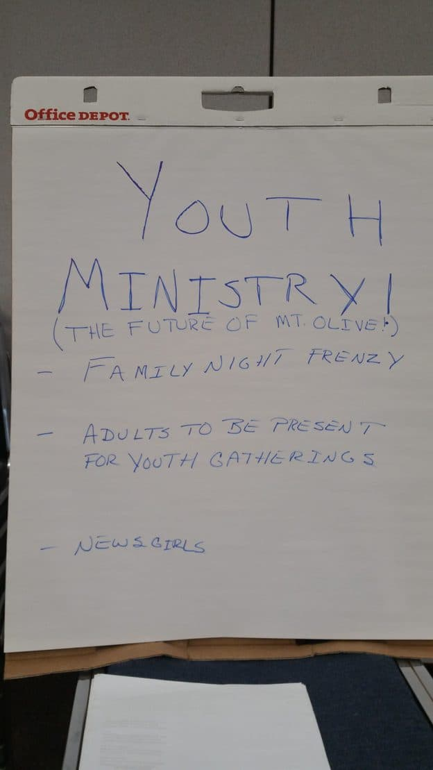 "Poster on white paper with the title ""Youth Ministry"" and more in small print"